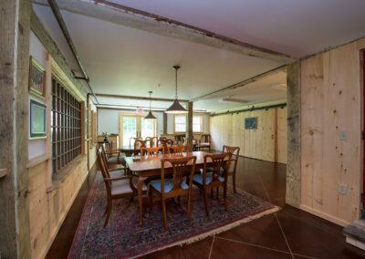 dining area in barn of Harrisville Inn