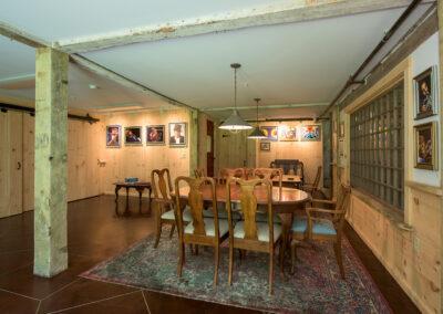 dining room in barn of Harrisville Inn