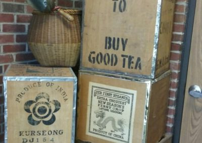 Boxes of tea outside of building